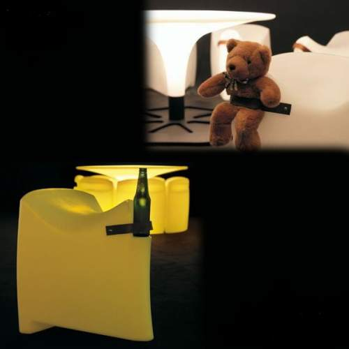 Corral table, bronco stools and c'upsidedown light