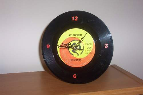 BEATLES Lady Madonna Record CLOCK Desk Clock