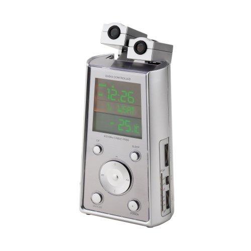 Digital AM/FM Alarm Atomic Clock Radio with Time Projector & Temperature Display<br />