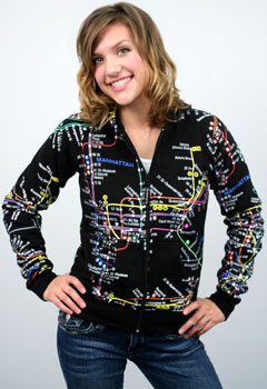 NYC subway map hoodie