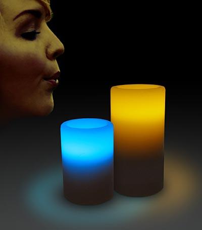 Bi-Color LED Blow On-Off Candles