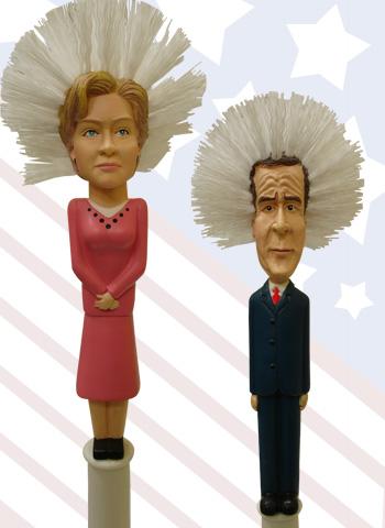 Hillary and Bush Toilet Brushes