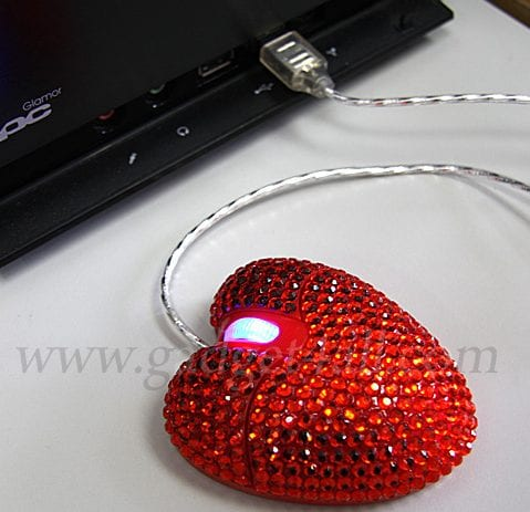 Bling Bling USB Heart Mouse