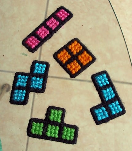 TETRIS cross stitched magnets