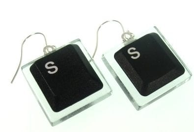 Earrings and Cufflinks Black Laptop Computer Key