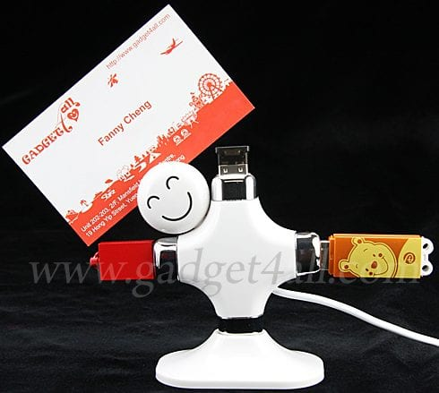 Smiling Kid USB 4-Port Hub With Memo Clip