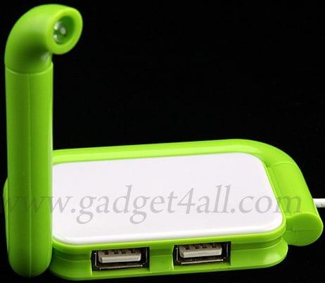 USB 4-Port Hub + Foldable Light
