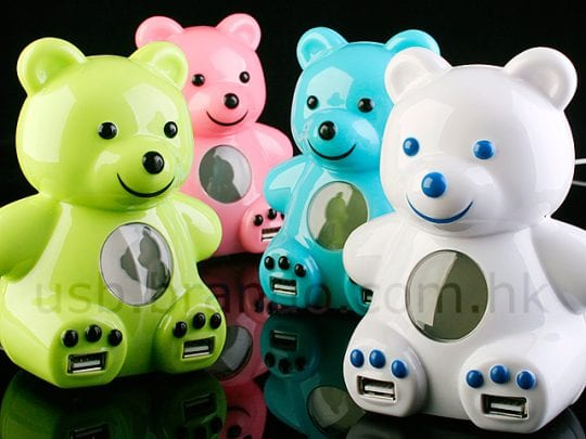 USB Bear 4-Port Hub + Alarm Clock