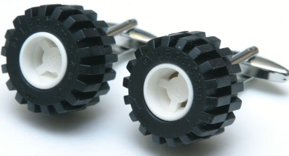 Large LEGO Truck Wheel Silver Cufflinks