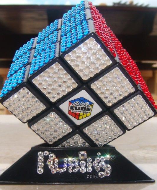 Rubik cube drenched in swarovski stones