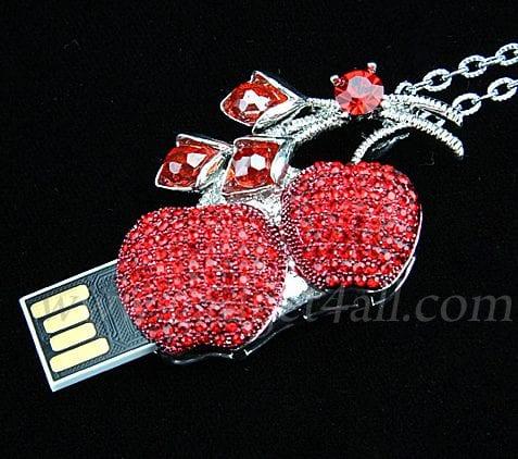 Jewel Cherry Necklace USB Flash Drive