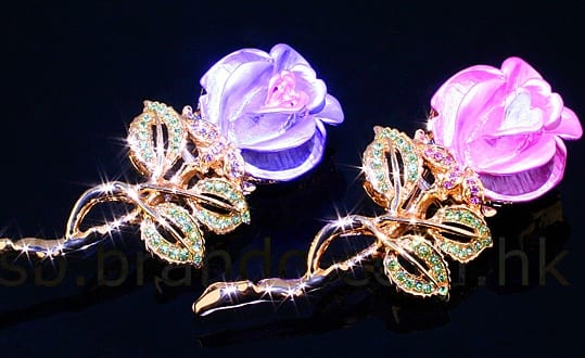 USB Jewel Rose Brooch Flash Drive