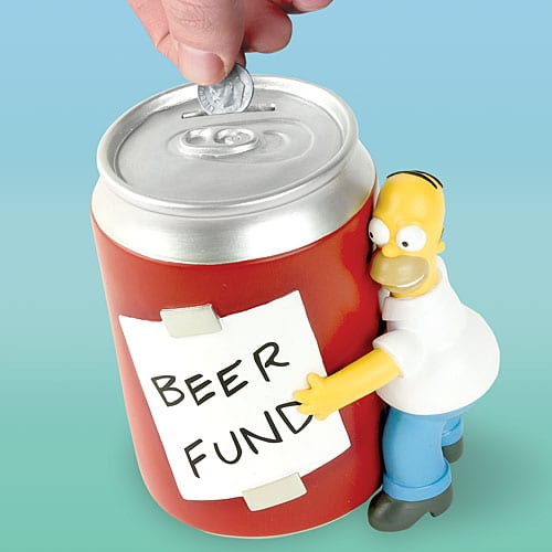 Homer Simpson's beer can coin bank