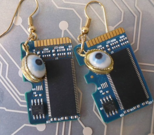 EARRINGS--Recycled Computer