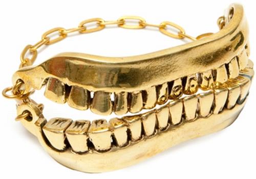 gold tooth smile bracelet