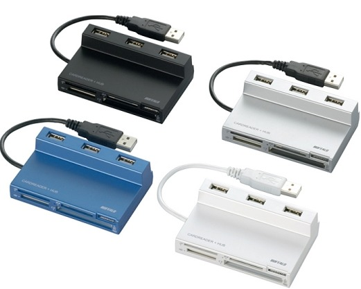 A multi-card reader with 3-port USB 2.0 hub