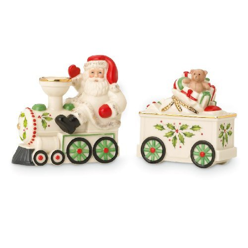 Lenox Holiday Santa & Train Salt & Pepper Set