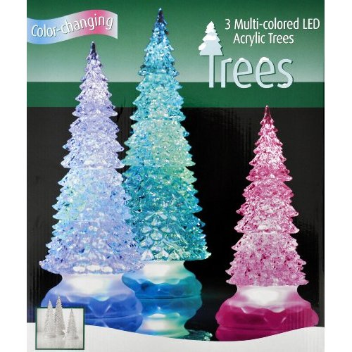 3 LED Multi Color Changing Acrylic Holiday Christmas Trees