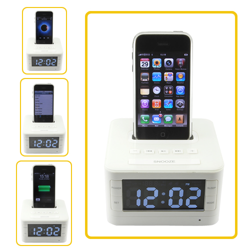iPod + iPhone Stereo Speaker Docking Station with Alarm Clock