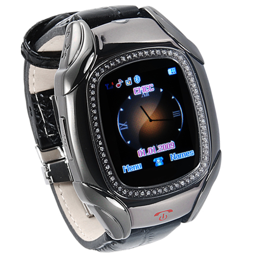 Quadband Cellphone Wrist Watch in Onyx Color