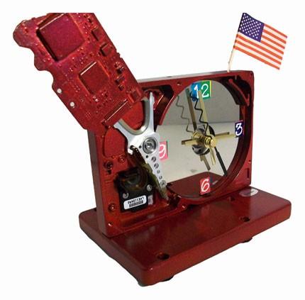 Metallic red hard drive clock
