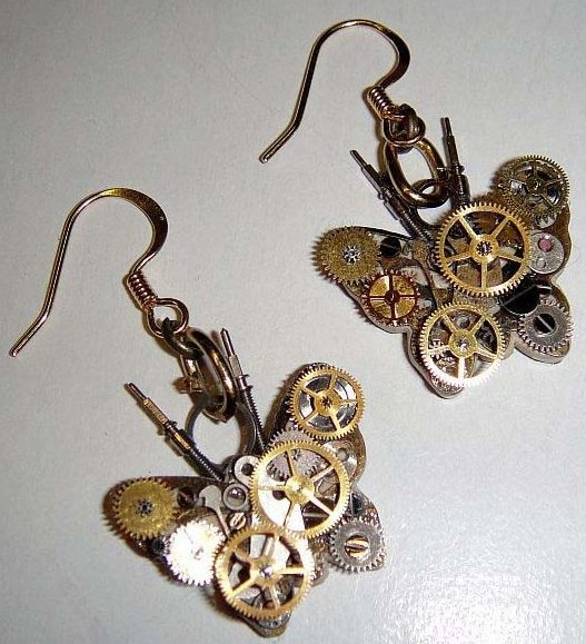 Micro-Mechanical Butterfly Earrings
