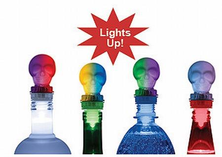 LED Lighted Skull Bottle Toppers