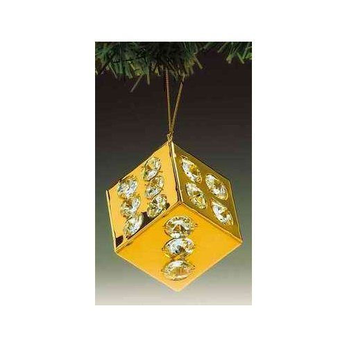 Dice 24k Gold Plated Swarovski Crystal Ornament