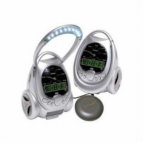Vibrating Alarm Clock with flashing LED Lights and Telephone Ring Signaler