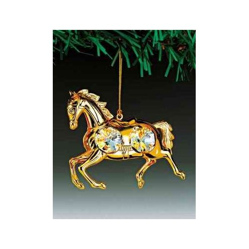 Horse 24K Gold Plated Swarovski Crystal Ornament
