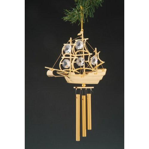 Ship Swarovski Crystal 24k Gold Plated Wind Chime NIB