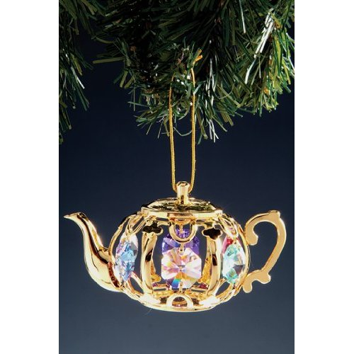 Teapot Swarovski Crystal 24k Gold Plated Ornament