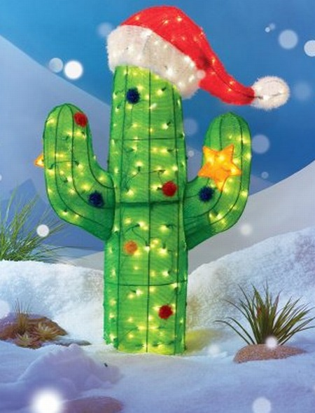 Lighted Soft Tinsel Cactus