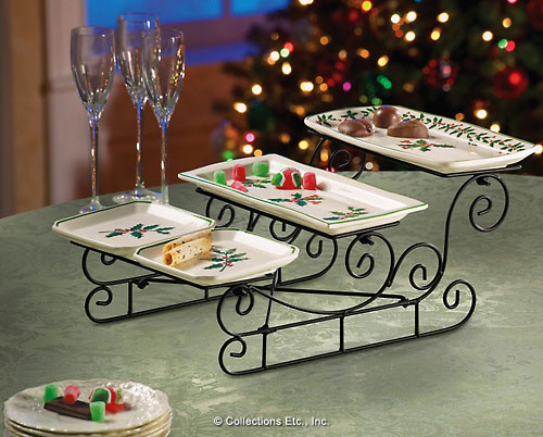 Sleigh Plate Rack With Serving Trays