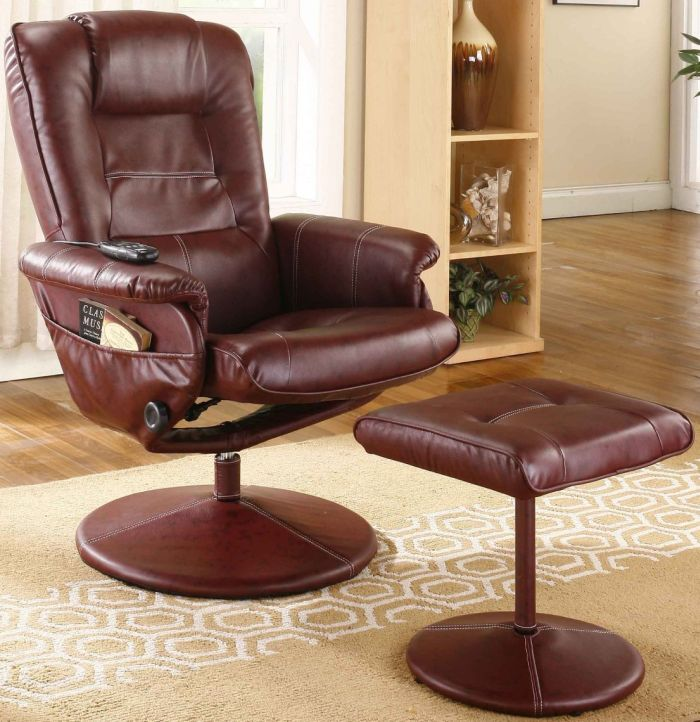 Burgundy Leather Massage Recliner Swivel Chair & Ottoman With Heat