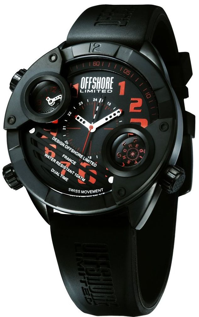 Men's OFF010F Cockpit Black PVD Black Dial Dual Time Rubber Watch