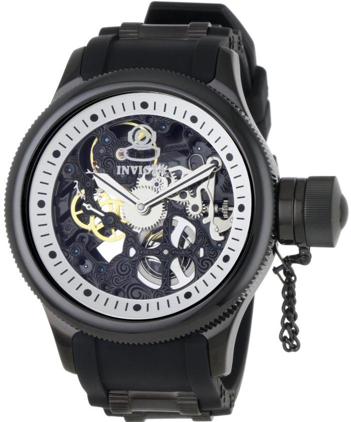 Invicta Men's 1091 Russian Diver Mechanical Skeleton Dial Black Polyurethane Watch