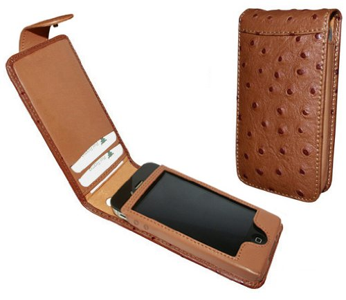 Tan Ostrich Leather Case with Snap Closure Ver. 2 for Apple iPhone 4 / 4S