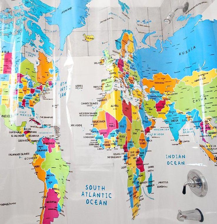 Home World Map Shower Curtain