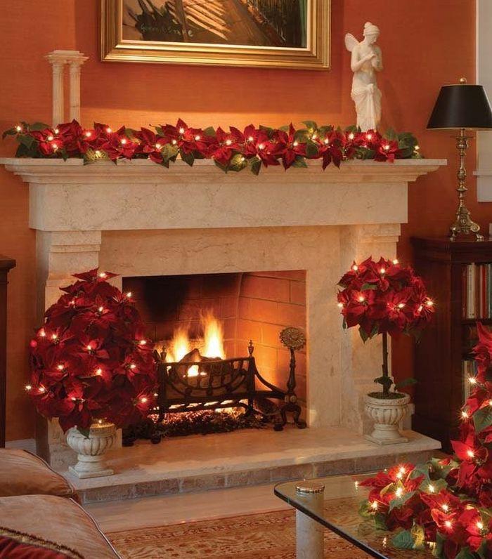 Bethlehem Lighting Red Velvet Poinsettia 6-Foot Christmas Garland with 35 Clear Mini