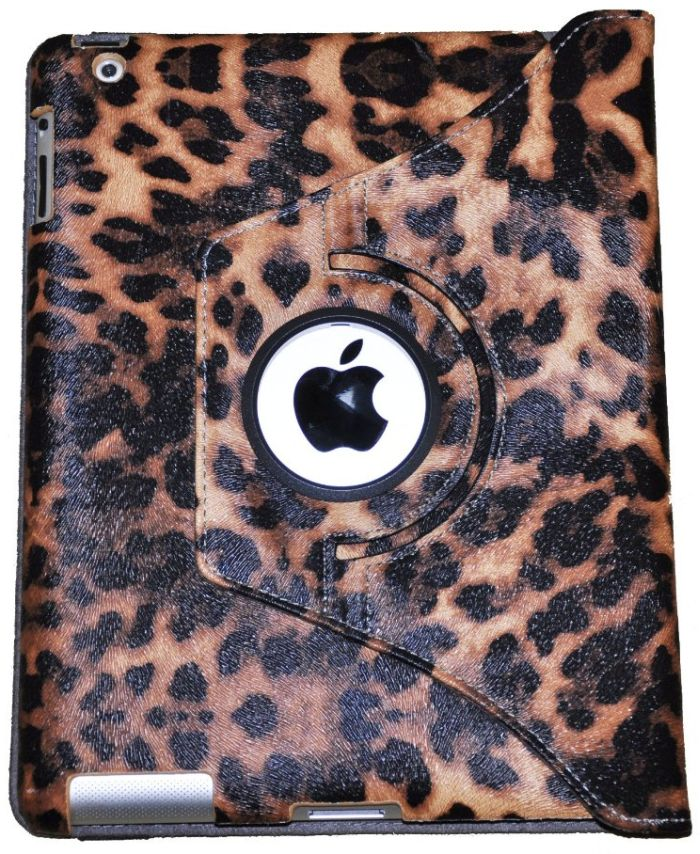 LiVi Tech TM 360 Degrees Rotating Leopard Magnetic Leather Smart Cover Case O for Apple IPad 2