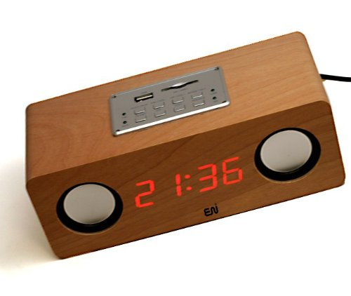 Handmade Natural Birch Veneer Wooden LCD Boom-box Alarm Clock