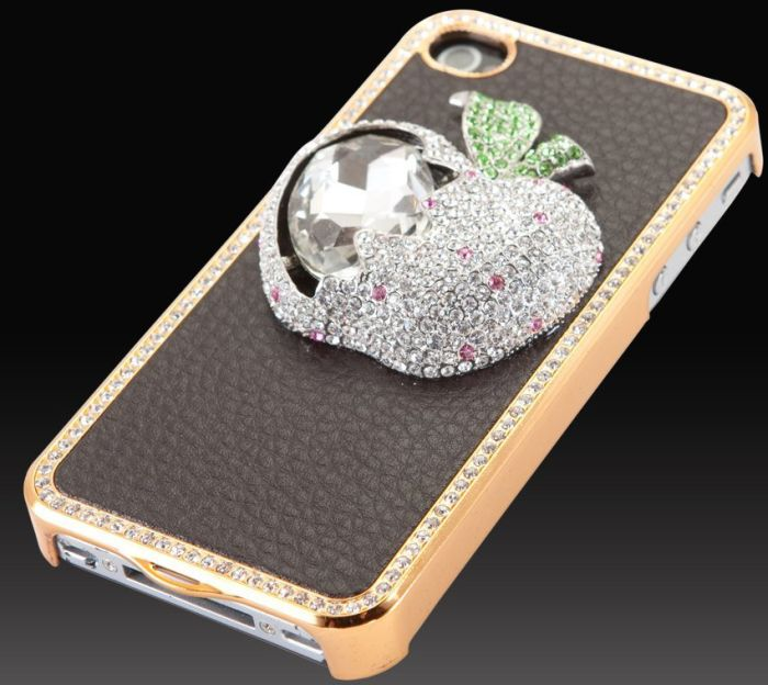 """Elite Collection"" Luxury glass diamond case cover Apple iPhone 4 4G 4S"