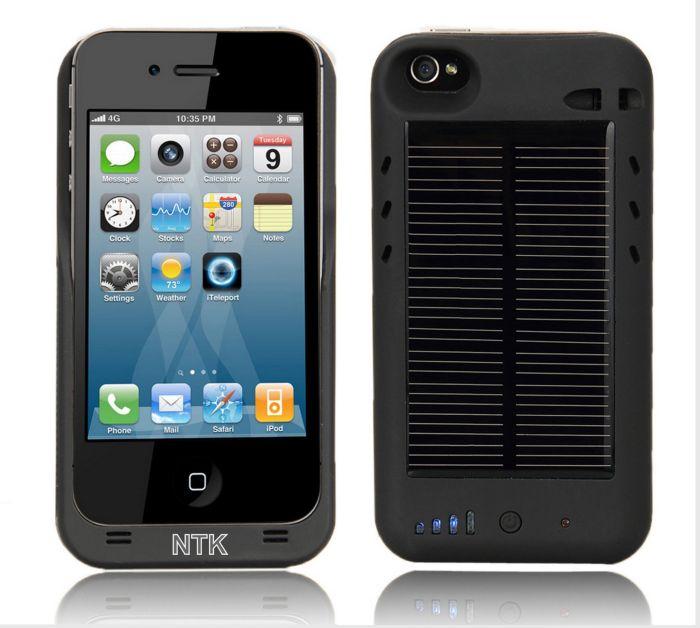 iPhone 4 4G External Solar Powered Battery Charger Case