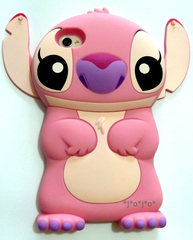 Pink Disney 3d Stitch Movable Ear Flip Hard Case Cover for Iphone 4/4s