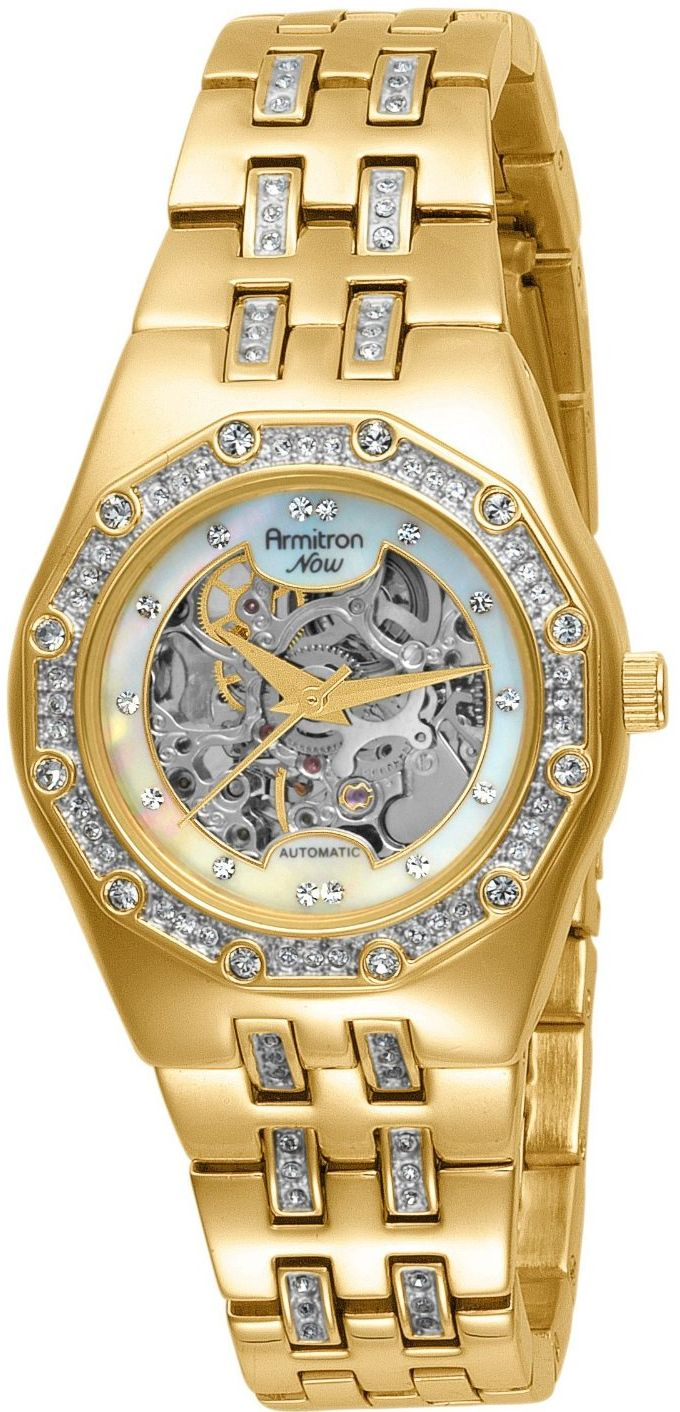 Armitron Women's 753723MPGP Automatic Swarovski Crystal Accented Mother Of Pearl Dial Watch