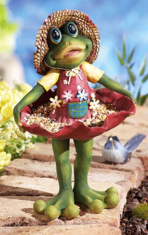 Curtsying Shirley Frog Whimsical Birdfeeder Garden Statue