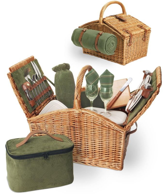"Picnic Time Somerset 20"" L English-Style Double Lid Willow Picnic Basket Service for 2"