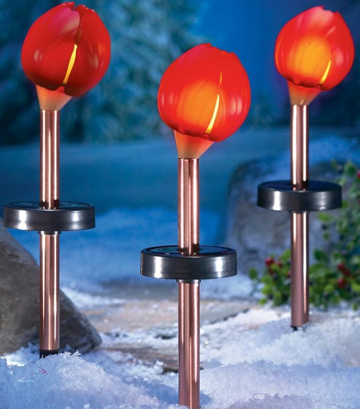 Red Solar Powered Flower Lawn Stake