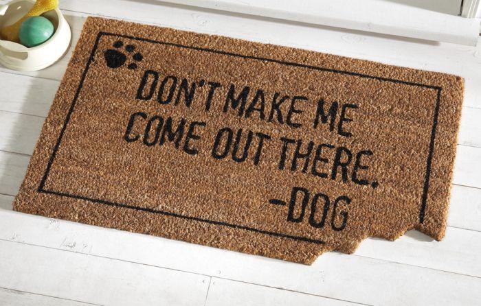 Funny Dog Bite Front Door Welcome Coir Mat